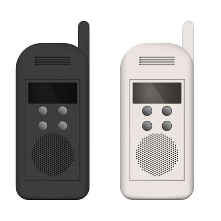 Set of walkie-talkies, white and black telephones.