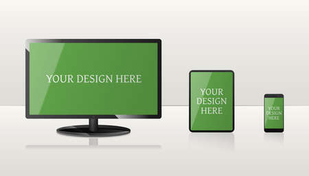Mockup of computer, laptop, and smartphone with green screens.