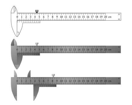 Metal vernier caliper set, outline drawing vector illustration. 向量圖像