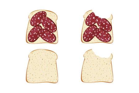 Realistic bit sandwich and bread vector illustration.