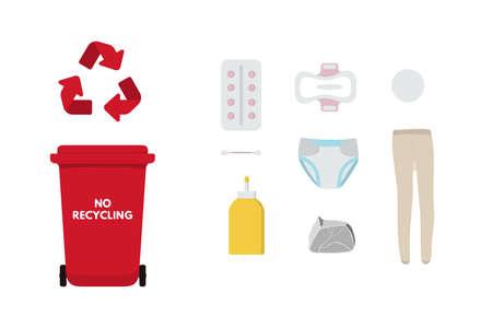 Red bin for no recycling trash vector illustration design.