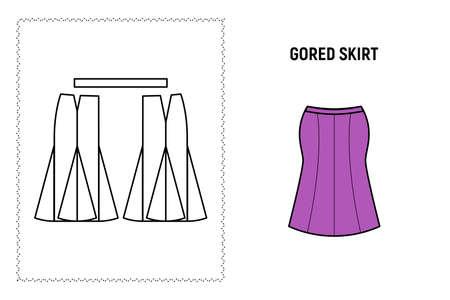 Women gored mini skirt pattern.