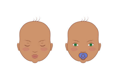 Vector illustration of the portrait of cute babies.