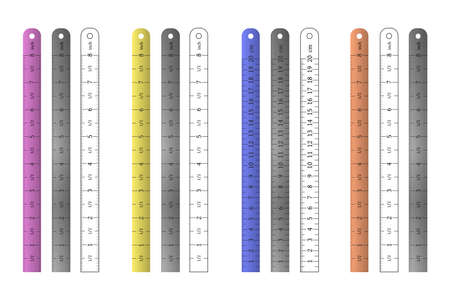 Metal, plastic and outline straight rulers set.