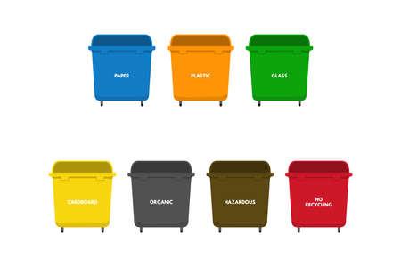 Waste sorting bins set vector illustration design. Vettoriali