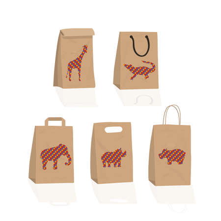 A set of gift paper craft bags with drawings of animals.