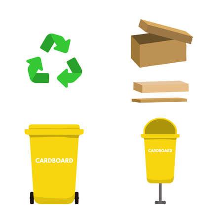 Garbage bin for cardboard vector illustration design. Vettoriali