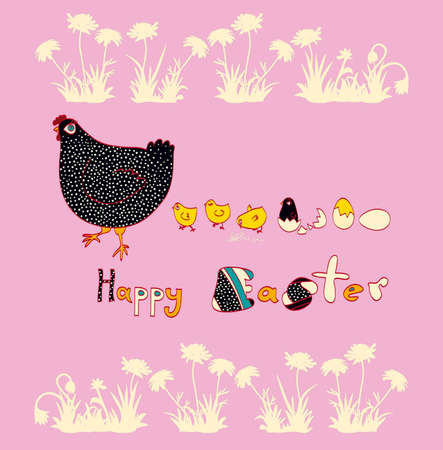 Beautiful chicken and cute chicks Vector