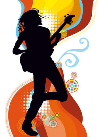 Silhouette of afro-american singer Vector