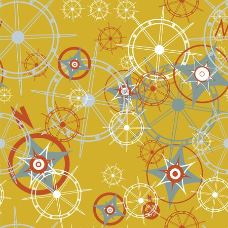 Vector Compass Rose and Ship Steering wheel seamless pattern background Surface pattern design