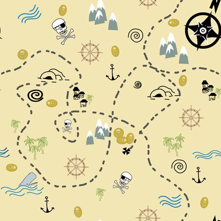 Pirate Map illustration Vector seamless repeat surface pattern design Banque d'images - 135620047