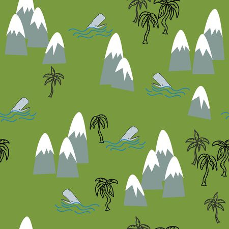 Tropical island repeat semaless vector surface pattern design