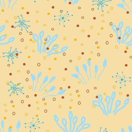 Vector doodle seamless pattern. Endless repeated texture with bursts, grasses, dots. Floral background. surface pattern design Illustration