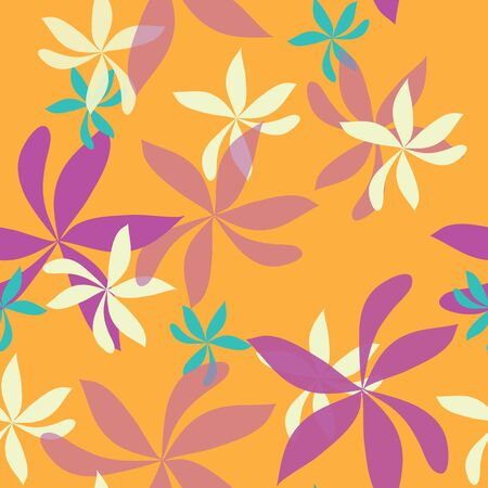 seamless repeat pattern with whimsical flowers on orange background. Modern and original textile, wrapping paper, wall art design.