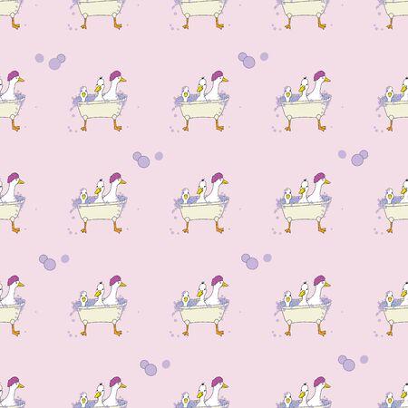 Scrubbing Bubbles, 3 ducks in a tub seamless repeat vector surface pattern design Vector Illustration
