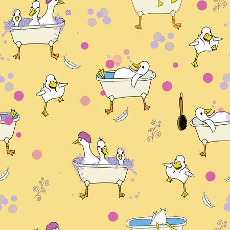 Rub a Dub Dub ducks scrubbing in tubs, repeat pattern vector, Surface Pattern Design