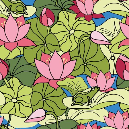 Its a frogs world, frog floating and hiding among lilypads and lotus flowers, lilys, seamless vector repeat, surface pattern design Illustration