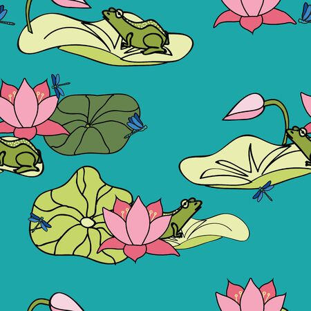 Its a frogs life, frog floating on lilypad among lotus flowers, lilys, seamless vector repeat surface pattern design
