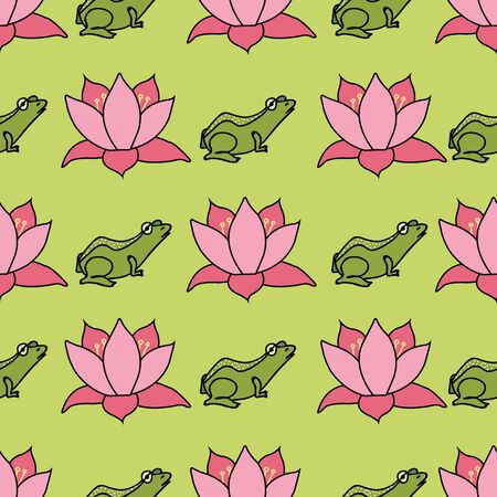 Frogs and lotus flowers in rows on bright green background seamless pattern vector repeat surface design