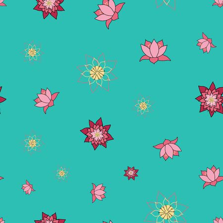 Enlightened Lotus, blooming lotus flowers on a teal blue background, ditsy vector repeat surface pattern design Illustration