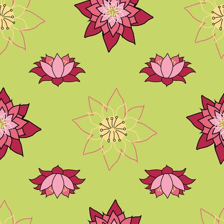Blooming Lotus repeat vector design, bright green background, Lily in bloom surface pattern design