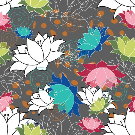 Lots of Lotus flowers, waterlilys nondirectional seamless vector pattern repeat surface design Ilustração