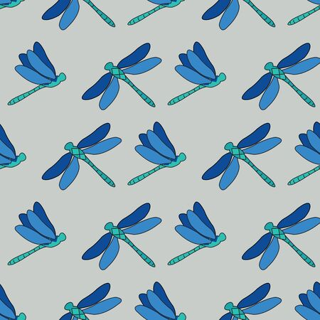 Dragonflies Trellis, repeat vector pattern design of dragonflies flying wings open and closed, surface pattern design