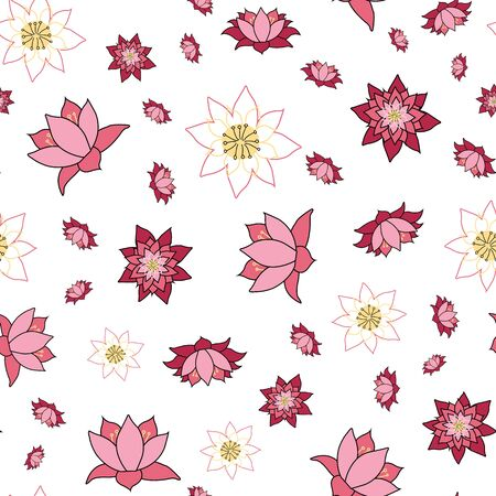 Lovely Lotus flowers in various stages of open, repeat seamless vector illustration, surface pattern