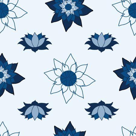 Blooming Lotus repeat vector design, classic blue design, Lily in bloom surface pattern design Ilustração