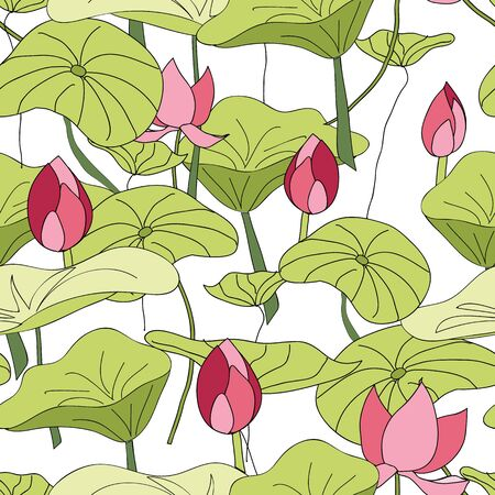 Lily Pads and flowers pattern vector seamless repeat surface pattern design