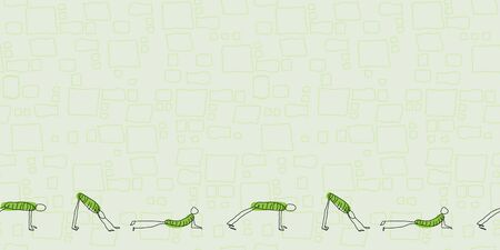 Down Dog Stick People Border, green with squares in background seamless repeat Vector. 矢量图像