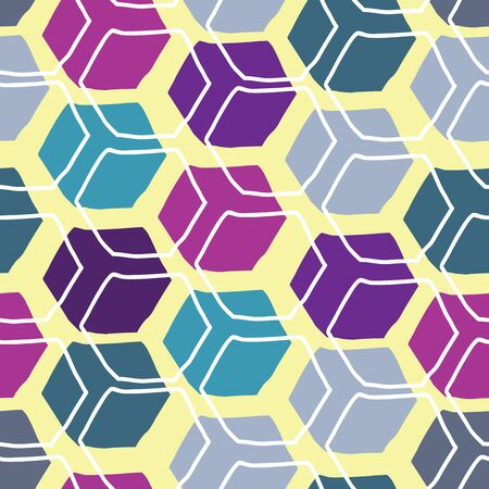 hexadoodle wonky shapes in bright colors,, vector seamless repeat surface pattern design
