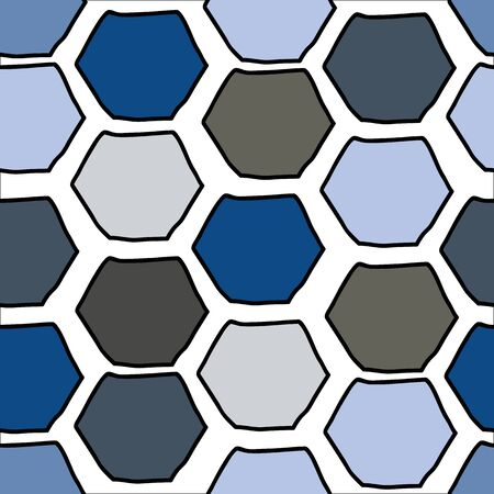 Doodle Hex slightly wonky shapes in blues browns and grays, vector seamless repeat surface pattern design