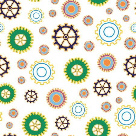 Spare Parts cogs and gears seamless repeat vector pattern surface design Vettoriali