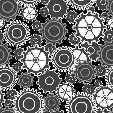 Gear Collage many sizes and styles of gears in neutral black white and grays, seamless repeat vector surface pattern design Ilustração
