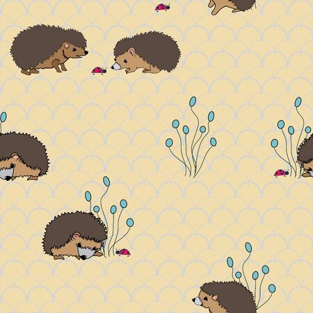 Hedgies exploring, Hedgehogs meeeting ladybugs on seamless vector pattern scallop background