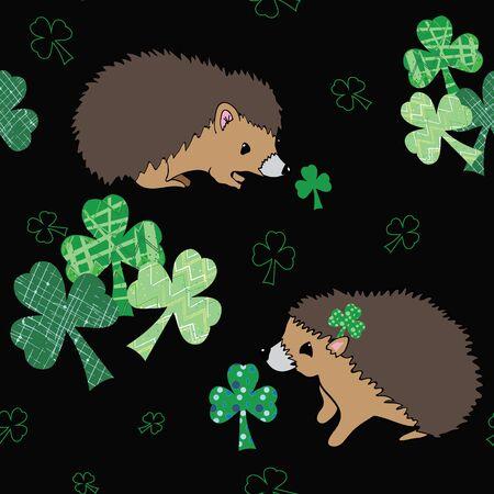 Hedgie and Shamrock, seamless repeat vector pattern hedgehog smelling shamrocks on black background