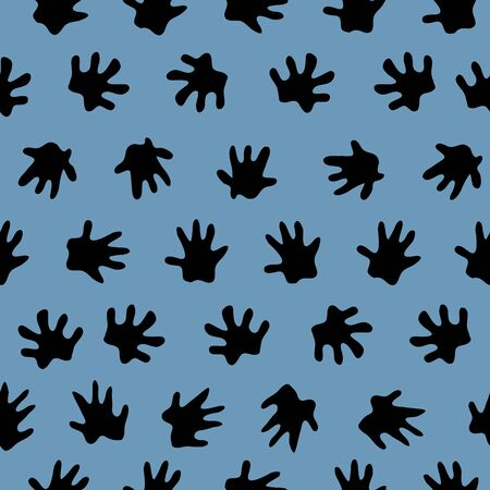 Hedgehog foot prints scattered about making a background. seamless repeat vector black silhouettes on blue. surface pattern design