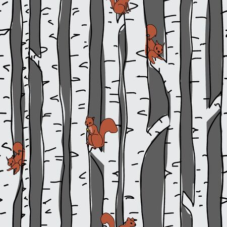 Squirrels in Birch trees seamless pattern on blue background. Seamless, repeat vector illustration surface pattern design