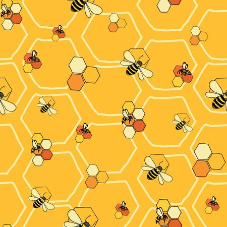 Bees and honeycombs seamless vector pattern on yellow honeycomb background surface pattern design Çizim