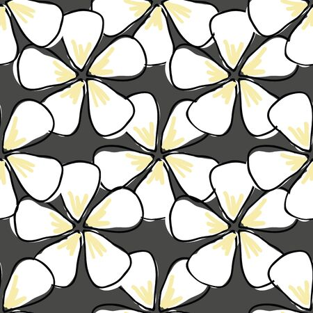 Flower Blossoms with white petals on gray background seamless vector repeat pattern Illustration