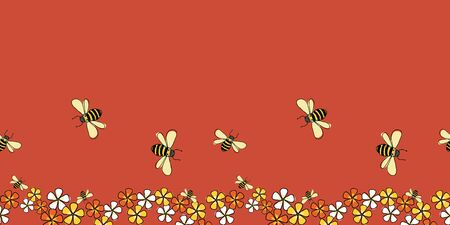 Pollinators Bees and flowers horizontal border seamless repeat Vector on red background surface design