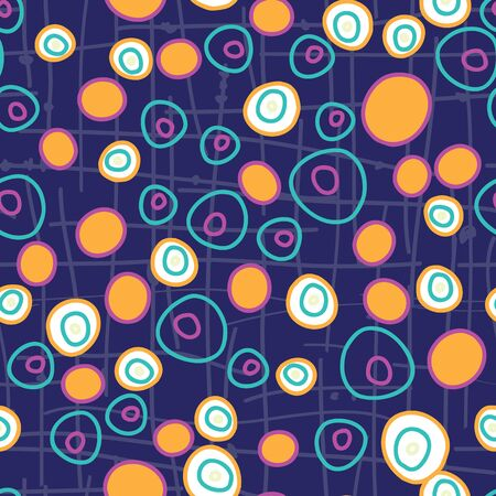 Circle Circus, bright fun dots in circles on a gridded dark blue purple background seamless repeat vector pattern surface design 벡터 (일러스트)
