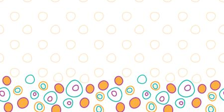 bouncing Bubbles border, bright fun dots in circles on white background with pale orange design behind seamless repeat vector pattern surface Stock Photo