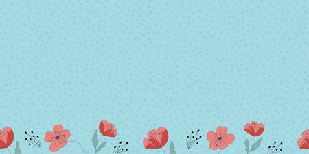 Poppy flower border with dots Seamless repeat vector pattern with cute red flowers. surface pattern design