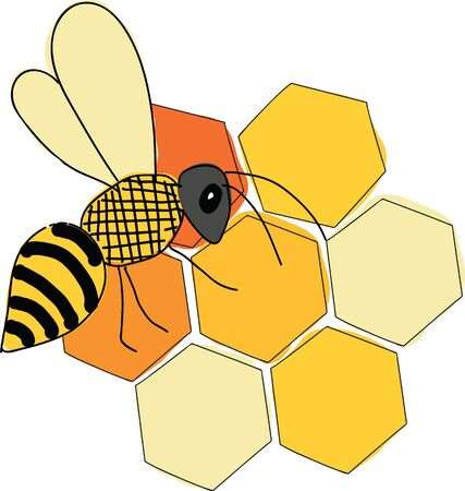 Honecomb and bee vector illustration surface design Ilustrace