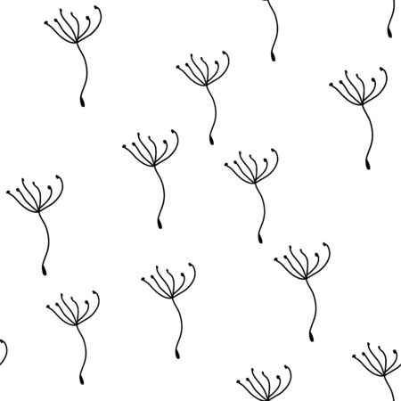 Dandelion Fluff Black and white Seamless background illustration with flying dandelion seeds surface pattern