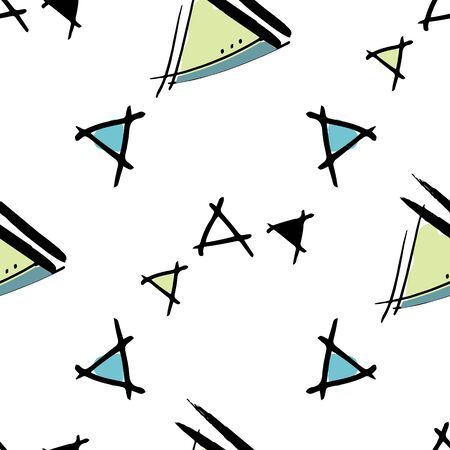 Childlike Triangles sketched triangles with blue and green centers Hand drawn vector seamless repeat pattern with ink doodles. wrapping paper, paper Vector Illustratie