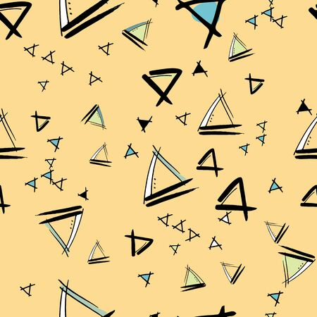 Triangles floating Hand drawn vector seamless pattern with ink doodles. surface design