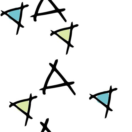 Tumbling Triangles with white background Hand drawn vector seamless repeat pattern with doodles. surface pattern desing Vector Illustratie